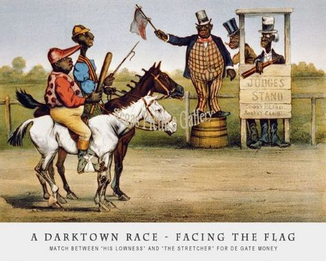 Fine art Horseracing Print of the 1800's Racing and Trotting of A Darktown Race – Facing The Flag